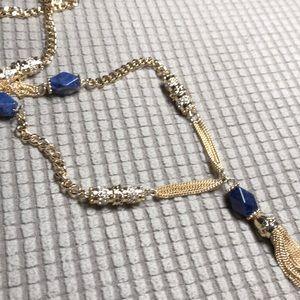 WHBM long sodalite tassel Necklace